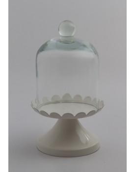 Mini Suporte Branco com redoma de vidro