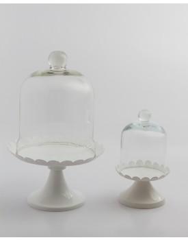 Suporte  Branco com redoma de vidro Tam M
