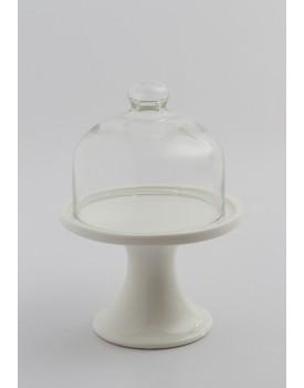 Mini Suporte Cerâmica com redoma de vidro