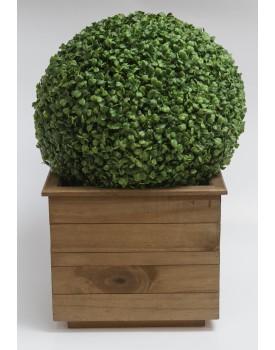 Cachepot de madeira rústico com Bola de Grama Tamanho G
