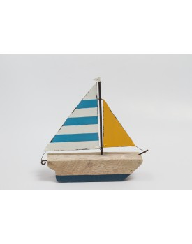 Barquinho de Madeira azul com Laranja