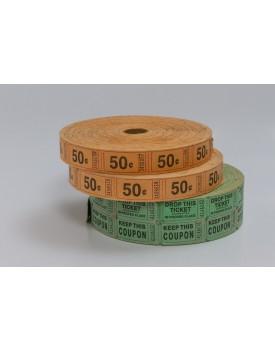 Rolo de Tickets Duplo Verde Com 2 rolos laranjas