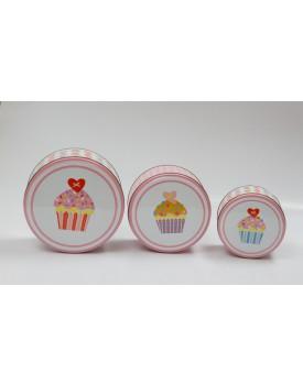 Trio de latas de metal Tema Cupcake