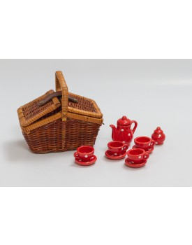 Mini Cestinha de palha com kit de chá em porcelana