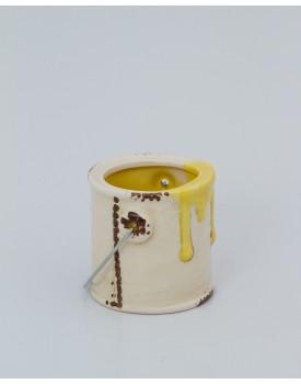 Mini Galão de tinta cerâmica amarelo