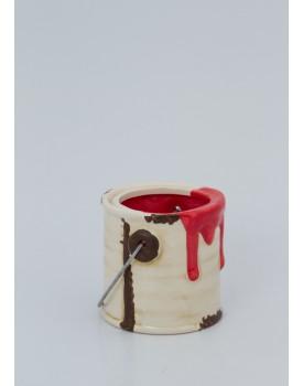 Mini Galão de tinta cerâmica vermelho
