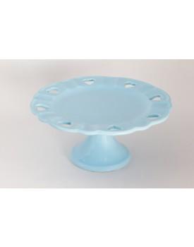 Prato de cerâmica azul com borda de coração