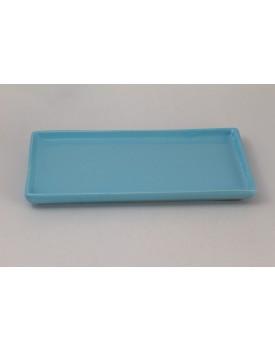 Prato retangular cerâmica azul claro