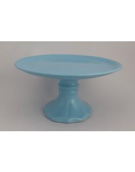 Prato azul claro cerâmica com pé colonial tam M