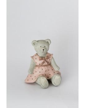 Ursinha sentada vestido rosa