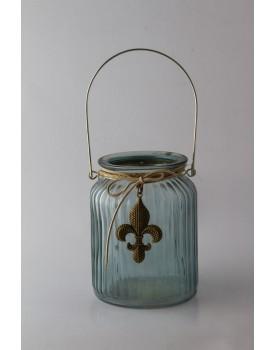 Pote de vidro azul com aplique flor de liz Tam P