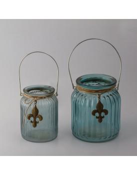 Pote de vidro azul com aplique flor de liz Tam M