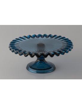 Prato de vidro azul com borda ondulada