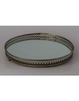 Bandeja Ferro Niquelada redonda com espelho