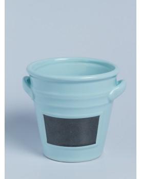 Mini Vaso cerâmica azul  com lousa