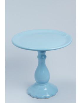 Prato Alto com pé Torneado azul Claro