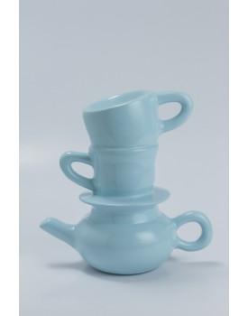 Torre xícaras  Cerâmica Azul Claro