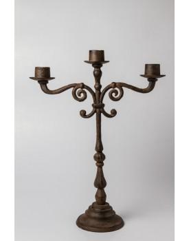 Candelabro de 3 velas de ferro fundido
