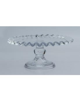 Prato de vidro Transparente com borda ondulada  Tam P