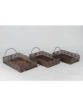 Bandeja retangular de madeira e ferro M