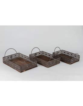 Bandeja retangular  de madeira e ferro G