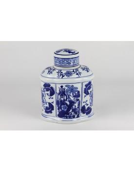 Pote Branco ondulado com desenhos e flores em azul Tam P