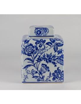 Pote quadrado com flores Branco e Azul