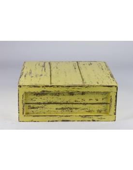 Caixa Patinada Amarelo Claro de mdf