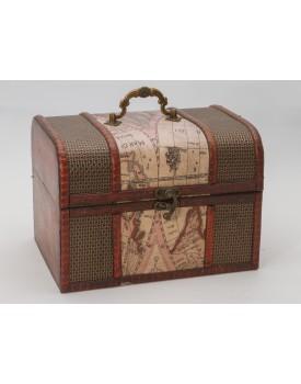 Baú de madeira com mapas Tam P