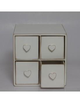 Mini Gaveteiro Rústico Branco com Corações