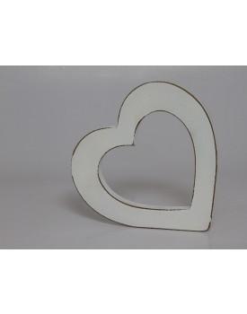 Coração De mesa Branco Rústico