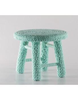 Banquinho de crochê Verde água Tam P