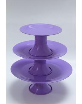 Trio de pratos Metal lilás