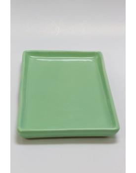 Prato retangular cerâmica  verde