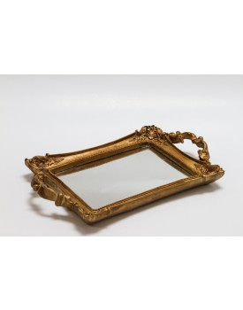 Bandeja de resina dourada com espelho