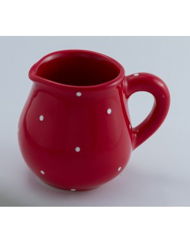 Leiteira de Cerâmica vermelha com poá Branco Tam P