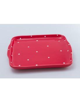 Prato quadrado cerâmica vermelho com poá branco