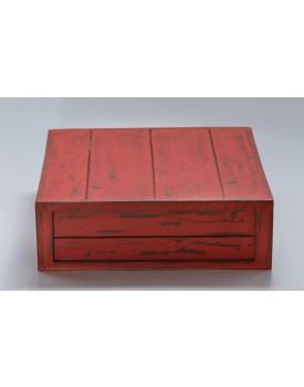 Caixa Patinada vermelha tam 32 x 32