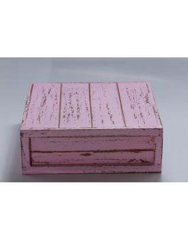 Caixa Patinada rosa claro tam 30 x 30