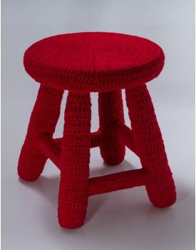 Banquinho Crochê Vermelho Tam G