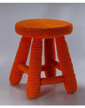 Banquinho Crochê laranja