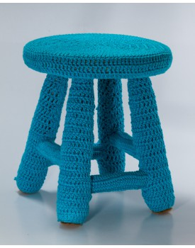 Banquinho Crochê Azul Mar