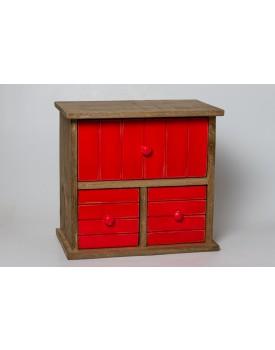 Gaveteiro de mesa de madeira rústico e vermelho