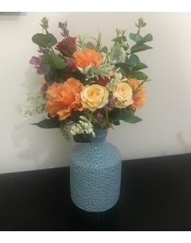 Arranjo de flor Artificial em tons de laranja  , Amarelo e Bordo Tam PP  ( Não acompanha o Vaso )