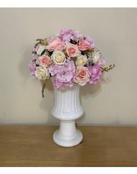 Arranjo de flor Artificial em tons de rosa Tam M ( Não acompanha o Vaso )