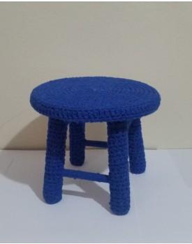 Banquinho de crochê Azul Royal Tam P