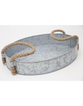 Bandeja de Alumínio Fosca com alça de corda