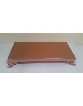 Bandeja retangular cobre com pé resina