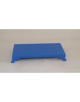Bandeja retangular azul com pé resina