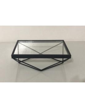 Bandeja Retangular de alumínio Preta com vidro